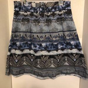 K Jordan Blue Print Side Zip Skirt